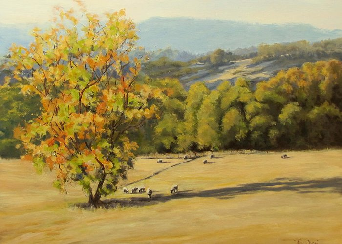 Nature Greeting Card featuring the painting Last Rays by Karen Ilari