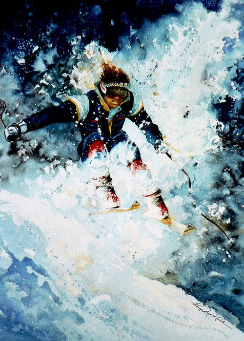 Sports Art Greeting Card featuring the painting Last Run by Hanne Lore Koehler