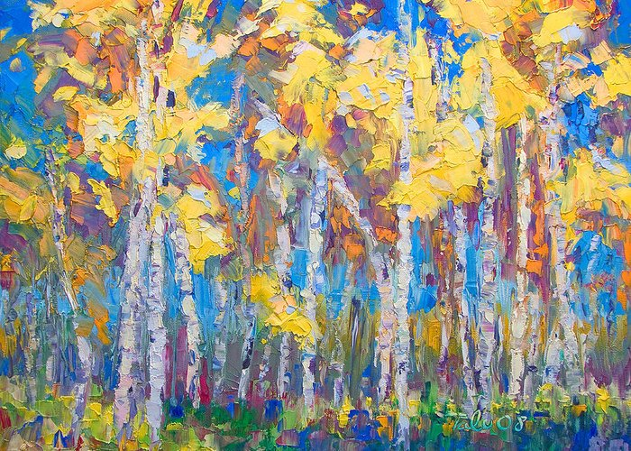 Tree Stand Greeting Card featuring the painting Last Stand by Talya Johnson