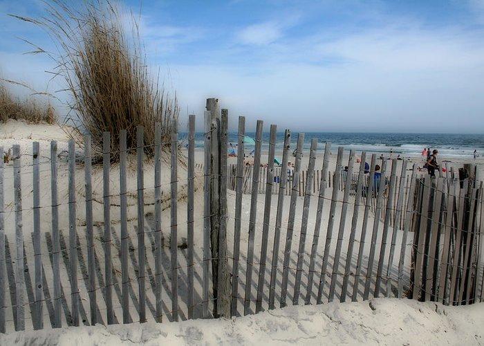 Landscapes Beach Art Sand Art Fence Wood Sky Blue Summertime Ocean Greeting Card featuring the photograph Last Summer by Linda Sannuti