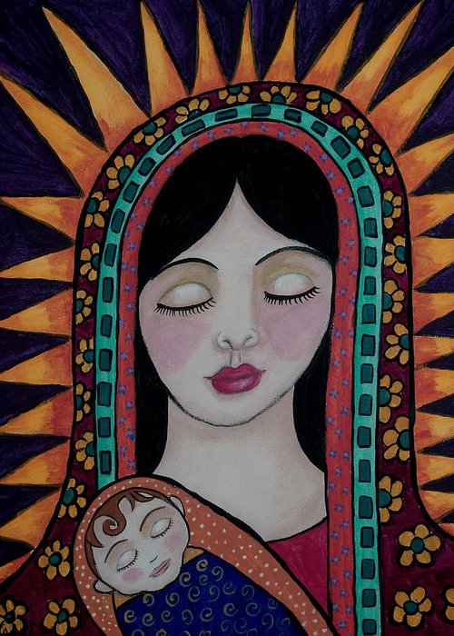 Madonna And Child Greeting Card featuring the painting Lasting Love Of A Mother by Tori Radford