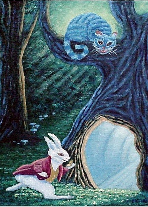 Rabbit Greeting Card featuring the painting Late Again by Fran Brooks