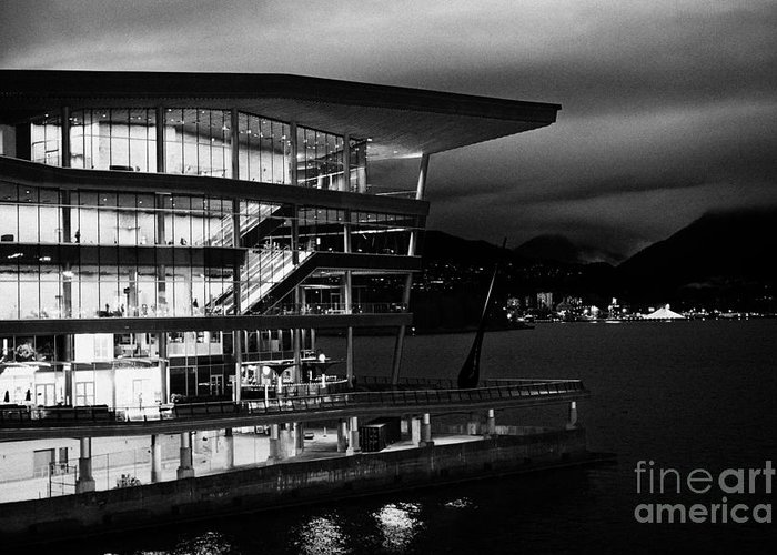 Vancouver Greeting Card featuring the photograph late evening at the Vancouver convention centre west building on burrard inlet BC Canada by Joe Fox