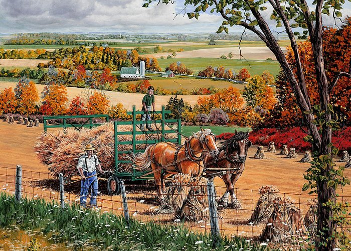 Harvest Greeting Card featuring the painting Late Harvest by Roger Witmer