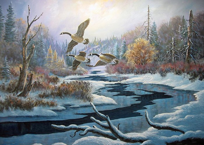 Canada Geese Greeting Card featuring the painting Late Migrants by Don Ningewance
