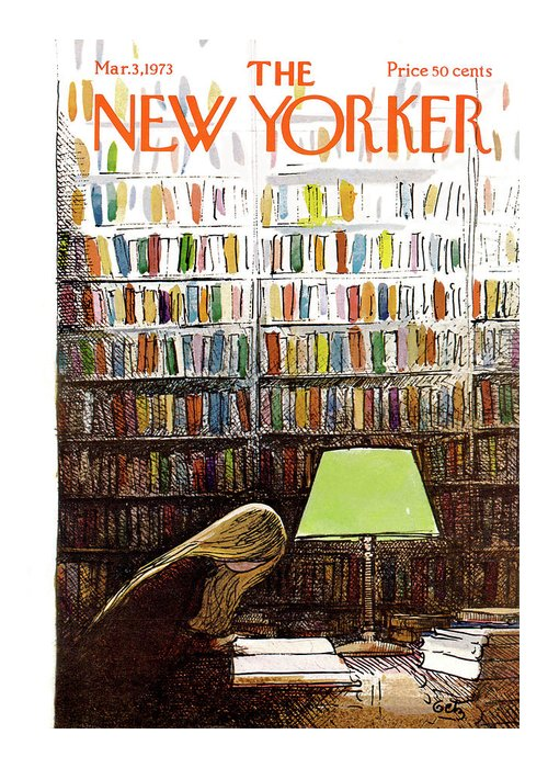 Library Greeting Card featuring the painting New Yorker March 3, 1973 by Arthur Getz