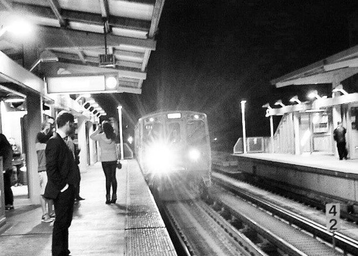 Red Line Greeting Card featuring the photograph Late Night On The Red Line by Jill Tuinier