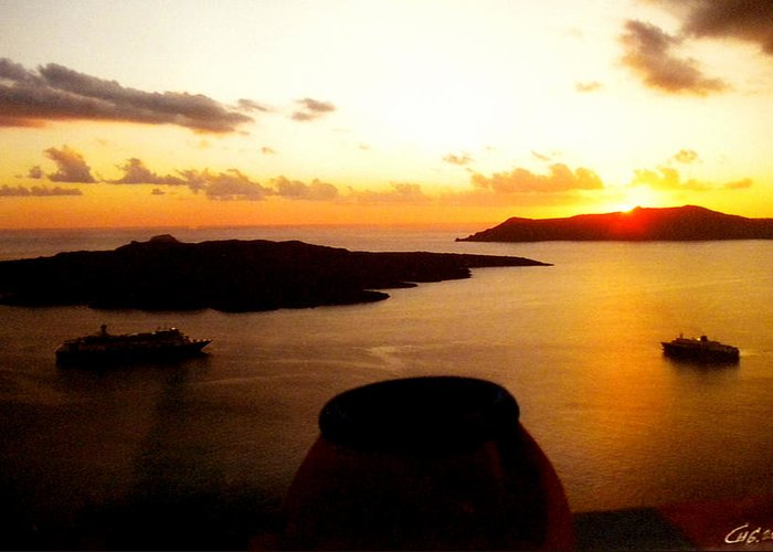 Colette Greeting Card featuring the photograph Late Sunset Santorini Island Greece by Colette V Hera Guggenheim