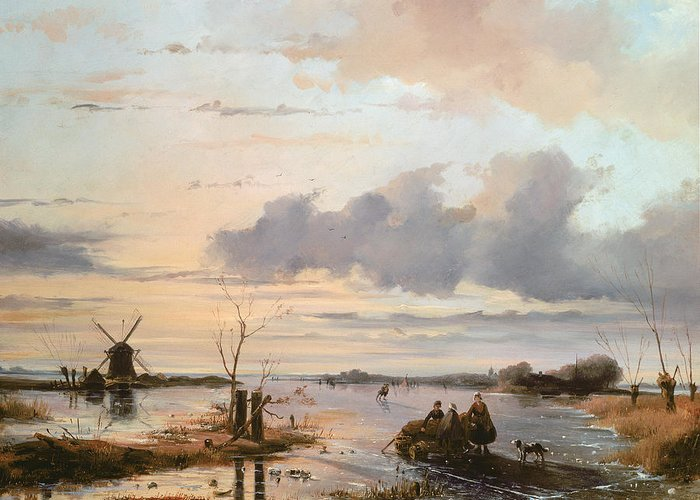Windmill Greeting Card featuring the painting Late Winter In Holland by Nicholas Jan Roosenboom
