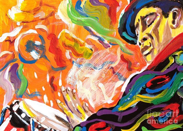 Latin Greeting Card featuring the painting Latin Jazz by Jonathan Tyson