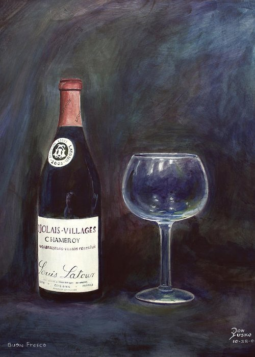Lime Painting Greeting Card featuring the painting Latour Wine Buon Fresco 3 Primary Pigments by Don Jusko