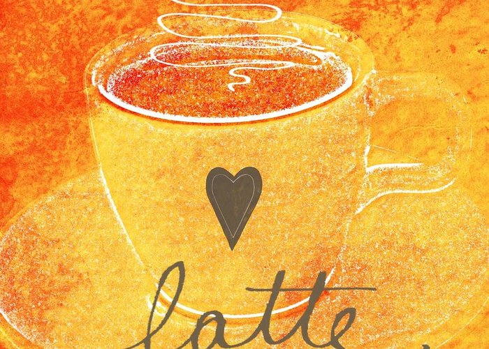 Latte Greeting Card featuring the mixed media Latte by Linda Woods