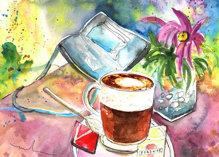 Impressionism Greeting Card featuring the painting Latte Macchiato In Italy 01 by Miki De Goodaboom