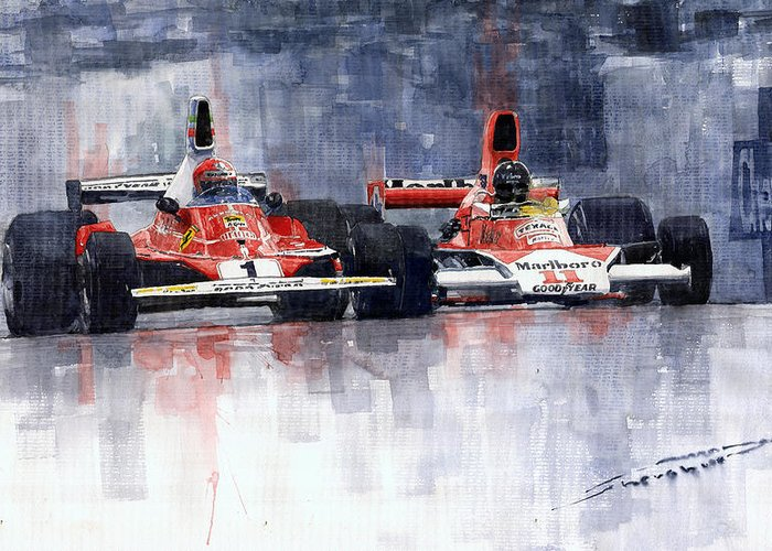 Automotive Paintings Greeting Cards