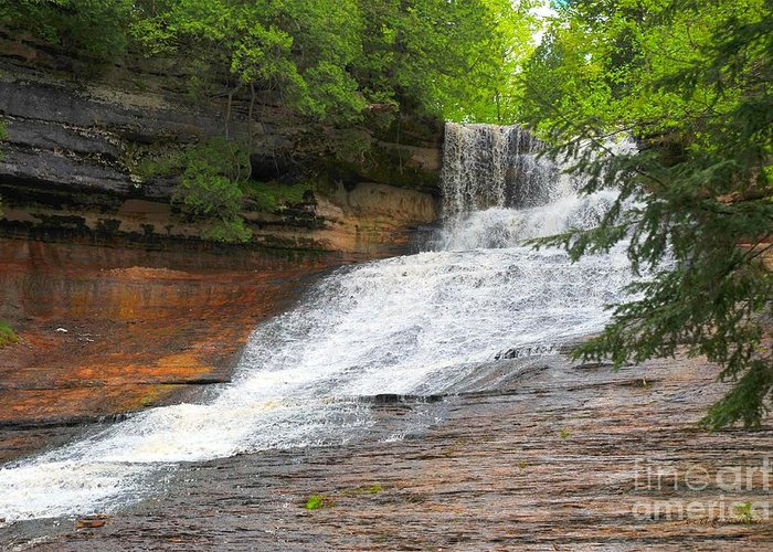 Michigan Greeting Card featuring the photograph Laughing Whitefish Waterfall by Terri Gostola