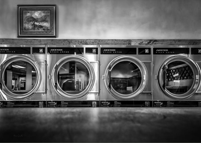 Abstract Greeting Card featuring the photograph Laundromat Art by Bob Orsillo