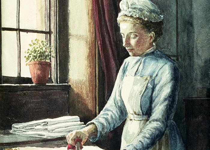 Servant Greeting Card featuring the painting Laundry Maid by English School