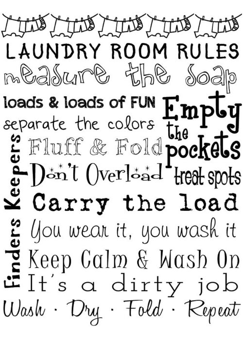 Art Greeting Card featuring the digital art Laundry Room Rules Poster by Jaime Friedman