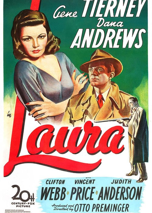 Hollywood Greeting Card featuring the drawing Laura by MMG Archives