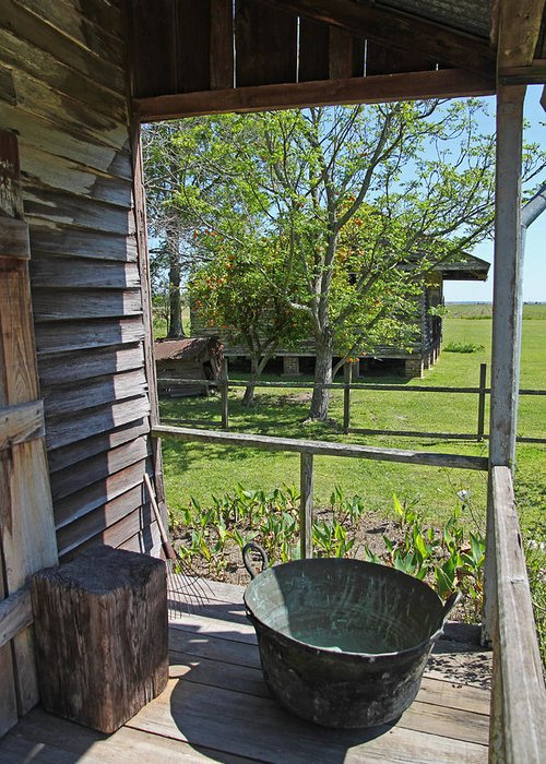 Gothic Greeting Card featuring the photograph Laura Plantation Slaves Porch by Joseph Semary