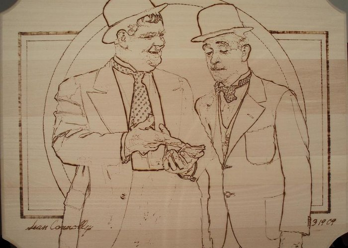 Pyrography Greeting Card featuring the pyrography Laurel And Hardy - Thicker Than Water by Sean Connolly