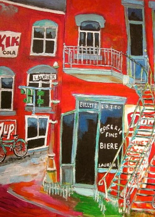 Montreal Memories Greeting Card featuring the painting Laurier Balconies Montreal Memories by Michael Litvack