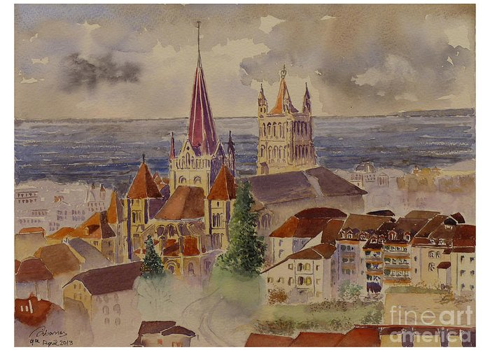 Lausanne Greeting Card featuring the painting Lausanne by Godwin Cassar