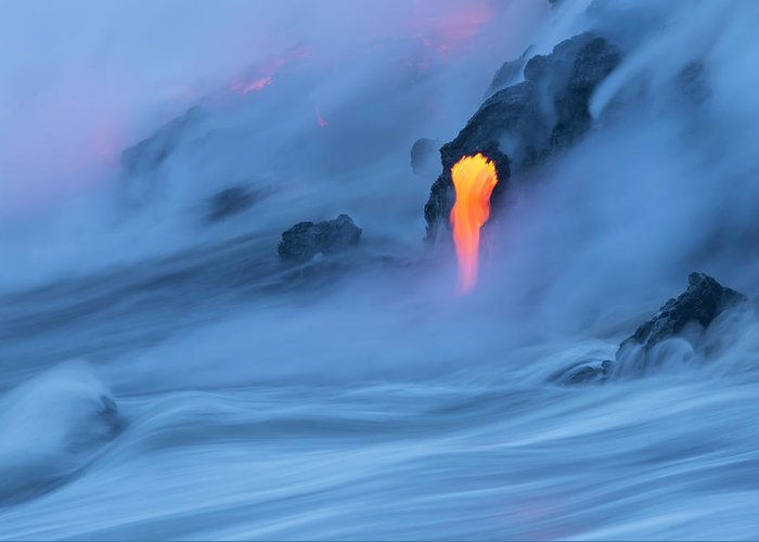 Cool Attitude Greeting Card featuring the photograph Lava Ocean Entry by Justinreznick