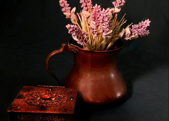 Copper Pitcher Greeting Card featuring the photograph Lavender And Copper by Grace Dillon