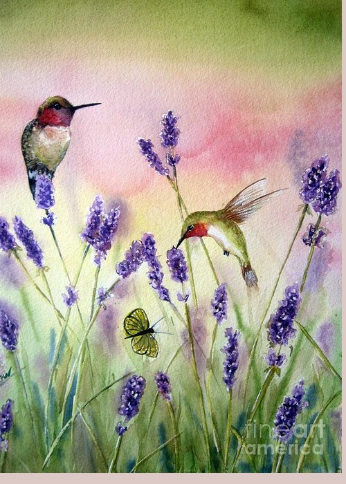 Bird Art Greeting Card featuring the painting Lavender And Hummingbirds by Patricia Pushaw