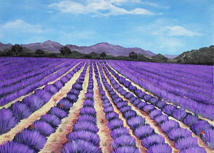 Interior Greeting Card featuring the painting Lavender Field In Provence by Anastasiya Malakhova