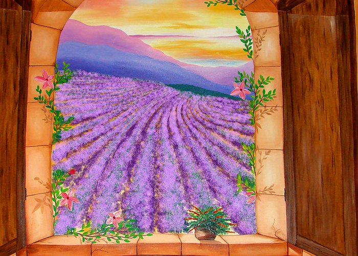 Oil Painting Greeting Card featuring the painting Lavender Fields Window by Karen R Scoville