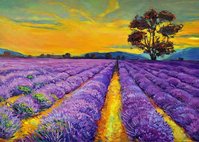 Abstract Greeting Card featuring the painting Lavender by Ivailo Nikolov