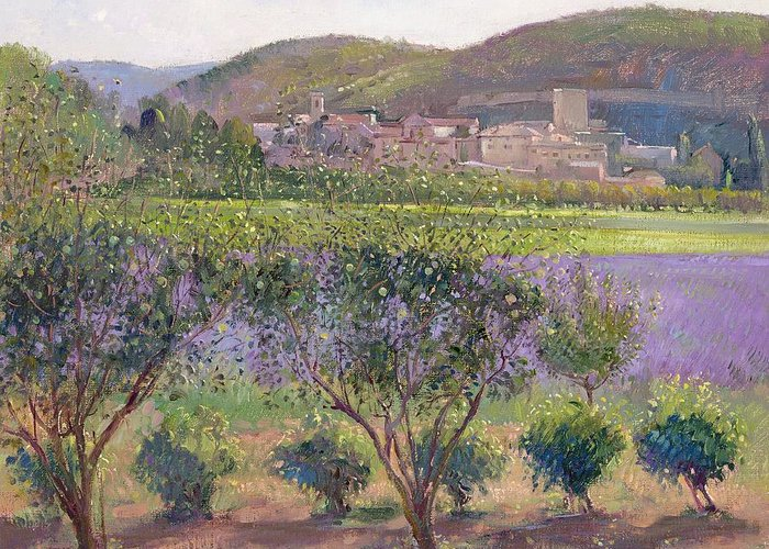 Landscape; Tree; Bush; Field; Summer; Evening; Lavender Seen Through Quince Trees Greeting Card featuring the painting Lavender Seen Through Quince Trees by Timothy Easton