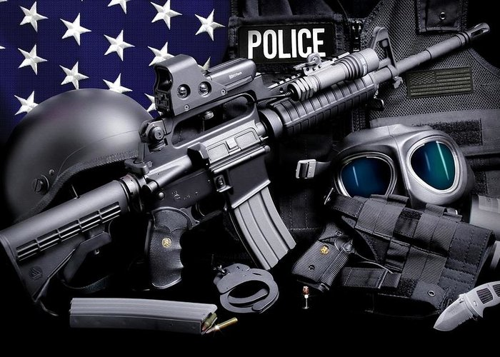 Law Enforcement Greeting Card featuring the photograph Law Enforcement Tactical Police by Gary Yost