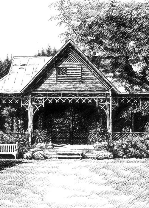 Pen And Ink Drawing Greeting Card featuring the drawing Lawn Chair Theater In Leiper's Fork by Janet King