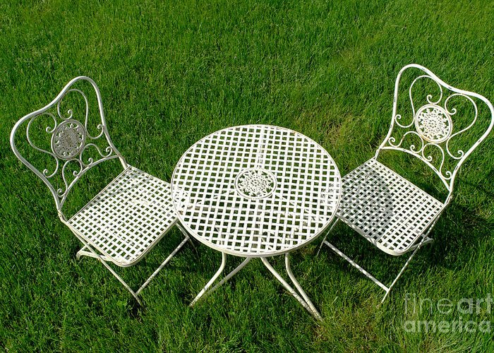 Cast Greeting Card featuring the photograph Lawn Furniture by Olivier Le Queinec