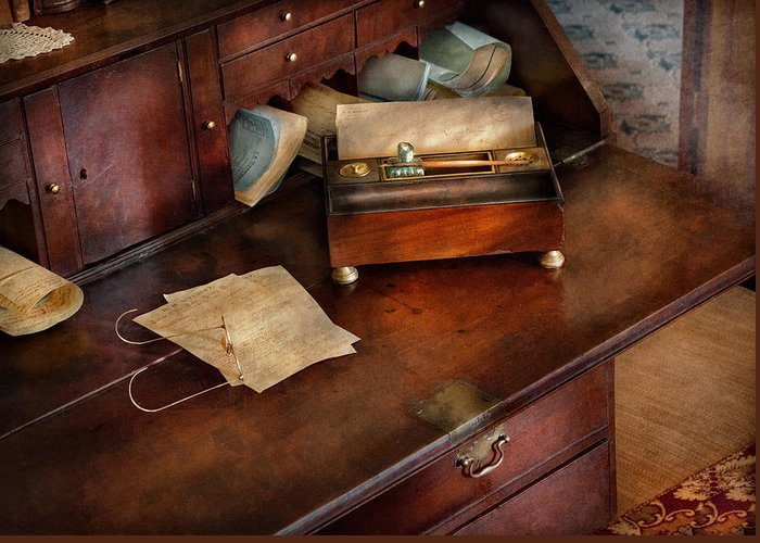 Hdr Greeting Card featuring the photograph Lawyer - Important Documents by Mike Savad