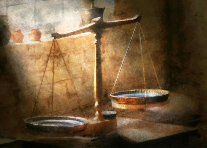 Lawyer Greeting Card featuring the photograph Lawyer - Scale - Balanced Law by Mike Savad