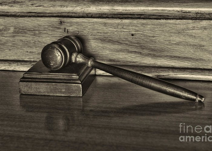 Paul Ward Greeting Card featuring the photograph Lawyer - The Gavel by Paul Ward