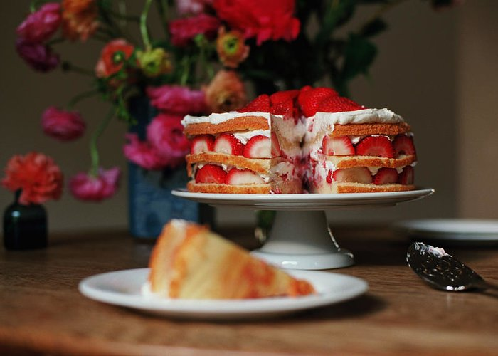 Vanilla Greeting Card featuring the photograph Layered Strawberry Cake With Background by Katie Baxter