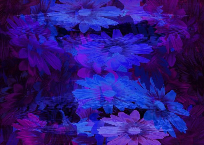 Blue Greeting Card featuring the glass art Layers by Tatiacha Bhodsvatan