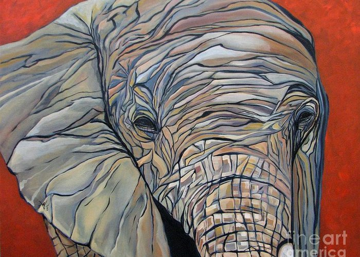 Elephant Greeting Card featuring the painting Lazy Boy by Aimee Vance