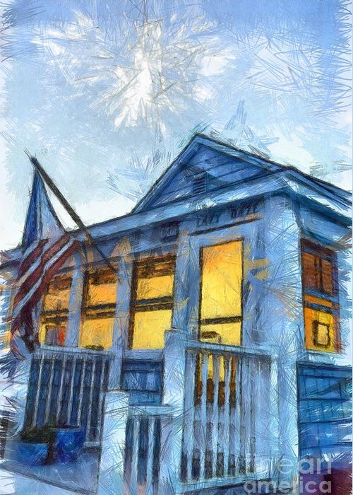 Flag Greeting Card featuring the photograph Lazy Daze Beach Cottage Pencil Sketch by Edward Fielding