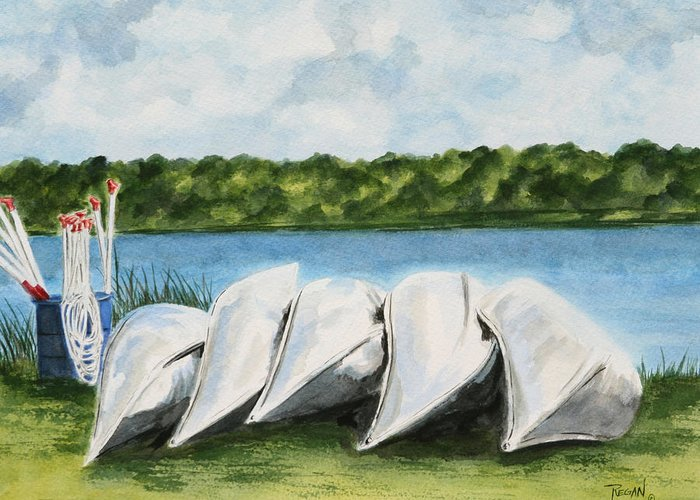 Canoes Greeting Card featuring the painting Lazy River by Regan J Smith