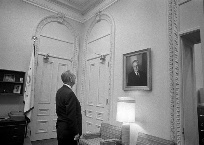 Lbj Greeting Card featuring the photograph Lbj Looking At Fdr by War Is Hell Store