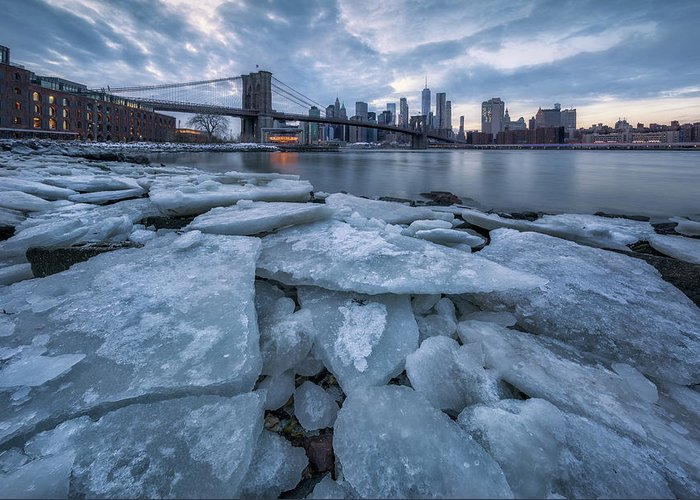 Manhattan Greeting Card featuring the photograph Lce City by Jie Chen