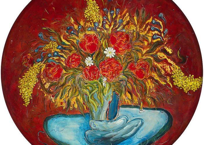 Bouquet Greeting Card featuring the painting Le Bouquet Rouge - Original For Sale by Bernard RENOT