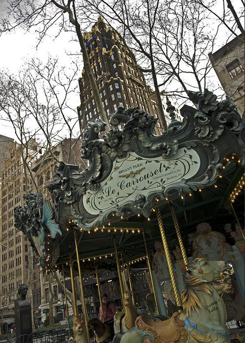 Bryant Park Greeting Card featuring the photograph Le Carrousel by Alida Thorpe