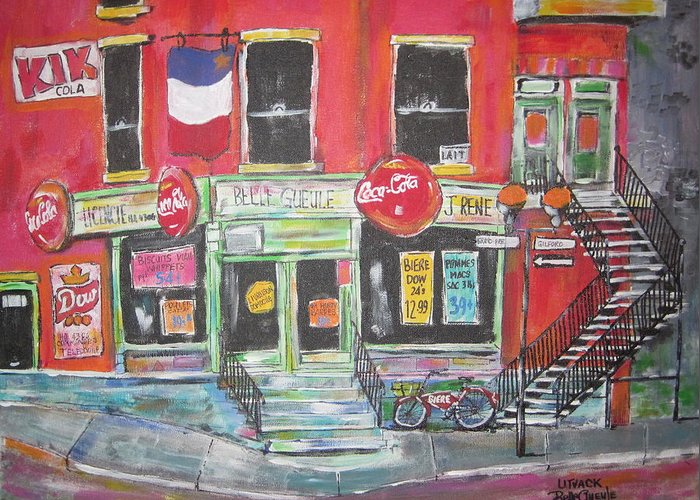 Litvack Greeting Card featuring the painting Le Depanneur by Michael Litvack